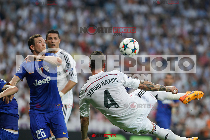 Real Madrid´s /rm and Juventus´s  during the Champions League semi final soccer match between Real Madrid and Juventus at Santiago Bernabeu stadium in Madrid, Spain. May 13, 2015. (ALTERPHOTOS/Victor Blanco) /NortePhoto.COM