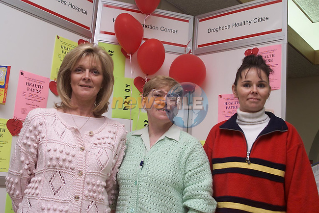 Kathleen Skelly, Bridie Clarke and Kim Hill Health Promotions corner at the Health Fayer in the Lourdes Hospital..Pic Fran Caffrey Newsfile..Camera:   DCS620C.Serial #: K620C-01974.Width:    1728.Height:   1152.Date:  12/2/00.Time:   17:09:25.DCS6XX Image.FW Ver:   3.0.9.TIFF Image.Look:   Product.Antialiasing Filter:  Removed.Tagged.Counter:    [1623].Shutter:  1/30.Aperture:  f5.6.ISO Speed:  200.Max Aperture:  f3.5.Min Aperture:  f22.Focal Length:  24.Exposure Mode:  Manual (M).Meter Mode:  Color Matrix.Drive Mode:  Continuous High (CH).Focus Mode:  Single (AF-S).Focus Point:  Center.Flash Mode:  Normal Sync.Compensation:  +0.0.Flash Compensation:  +0.0.Self Timer Time:  5s.White balance: Custom.Time: 17:09:25.277.