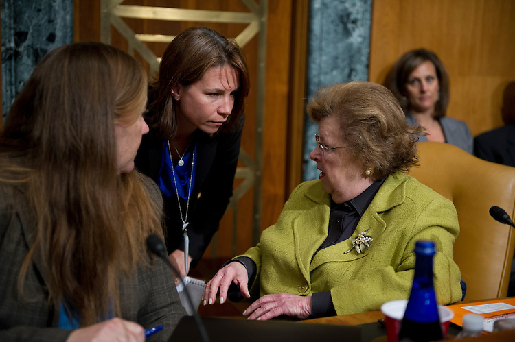 UNITED STATES - May 16: Sen. Barbara Mikulski, D-MD., talks with her staff before the start of the Appropriation subcommittee hearings to examine proposed budget estimates for fiscal year 2014 for the Federal Bureau of Investigation.  (Photo By Douglas Graham/CQ Roll Call)