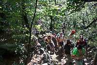 Val di Susa: corteo dei no tav nei boschi, per raggiungere il cantiere della Maddalena dove sono iniziati i lavori per la costruzione del tunnel per l'alta velocità.