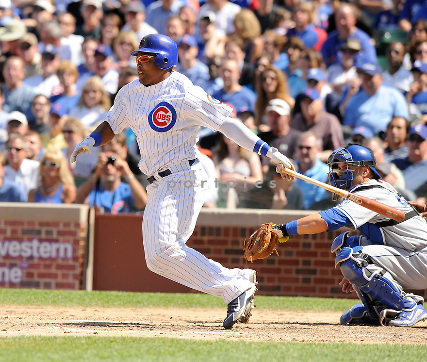 MARLON BYRD, of the Chicago Cubs, in action during the Cubs game against the Los Angeles Dodgers at Wrigley Field in Chicago, IL on May 27, 2010.  ..The Cubs won the game 1-0...