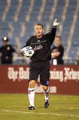 DALLAS, TX -OCTOBER 2: Matt Jordan #1 of the Dallas Burn in action against Colorado Rapids at Cotton Bowl in Dallas on October 2, 2002 in Dallas, Texas. (Photo by Rick Yeatts)