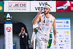 S&ouml;dert&auml;lje 2014-04-15 Basket SM-Semifinal 5 S&ouml;dert&auml;lje Kings - Uppsala Basket :  <br /> Uppsalas Mannos Nakos g&ouml;r gest mot publiken efter att ha gjort po&auml;ng<br /> (Foto: Kenta J&ouml;nsson) Nyckelord:  S&ouml;dert&auml;lje Kings SBBK Uppsala Basket SM Semifinal Semi T&auml;ljehallen jubel gl&auml;dje lycka glad happy
