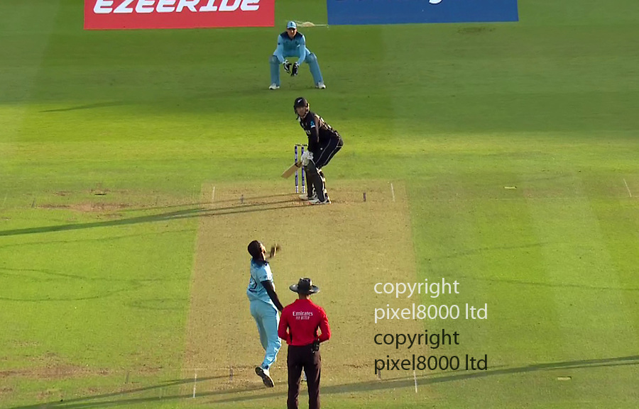 Pic shows: Eng v NZ Cricket final<br /> <br /> Guptillrun out (Roy) so England in the World Cup<br /> <br /> supplied by Pixel8000 Ltd