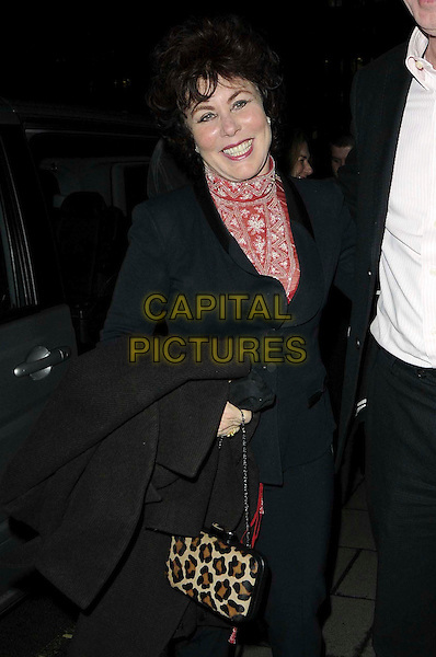Ruby Wax.The Hawn Foundation UK launch, Annabel's nightclub, Berkeley Square, London, England..March 7th, 2012.half length black jacket red top leopard print bag purse  .CAP/CAN.©Can Nguyen/Capital Pictures.