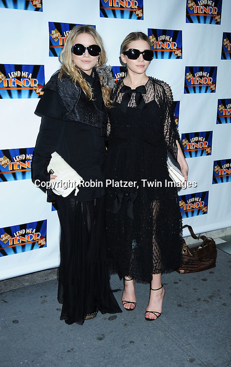 "actress Mary Kate Olsen and Ashley Olsen attending the Broadway Opening Night of  ""Lend Me A Tenor"" on April 4, 2010 at The Music Box Theatre in New York City."