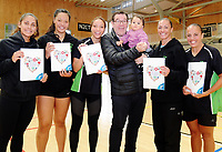Minister of Sport Grant Robertson (centre) with P.I.C netballers (from left) Alana Shuster,<br /> Danielle Tafila, Mila Reuelu-Buchanan, Ngarama Milner-Olsen and Rona Singer, with baby Indie-Blu Craig. Value Of Sport Launch at ASB Sports Centre in Wellington, New Zealand on Saturday, 17 March 2018. Photo: Dave Lintott / lintottphoto.co.nz