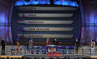 Group F is shown on the display during the FIFA Final Draw for the FIFA World Cup 2010 South Africa held at the Cape Town International Convention Centre (CTICC) on December 4, 2009.