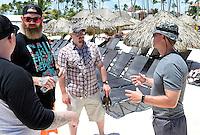 Jared talks to groomsmen Travis Ova, Danny Arnot and Josh Giles (L-R) during Thursday's run-through