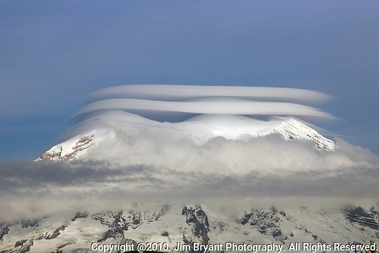 Lenticular Clouds Over Mt. Rainier. Jim Bryant Photo. ©2010. All Rights Reserved.
