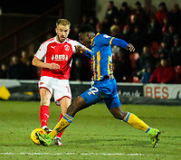 Fleetwood Town's Paddy Madden is tackled by Shrewsbury Town's Aristote Nsiala<br /> <br /> Photographer Alex Dodd/CameraSport<br /> <br /> The EFL Sky Bet League One - Fleetwood Town v Shrewsbury Town - Tuesday 13th February 2018 - Highbury Stadium - Fleetwood<br /> <br /> World Copyright &copy; 2018 CameraSport. All rights reserved. 43 Linden Ave. Countesthorpe. Leicester. England. LE8 5PG - Tel: +44 (0) 116 277 4147 - admin@camerasport.com - www.camerasport.com