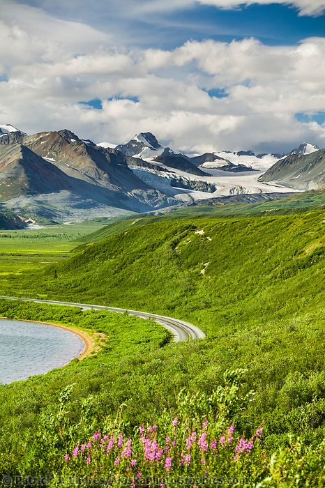 Summit Lake, along the Richardson Highway in isabel pass, Gakona Glacier in the distance, Alaska mountain range.