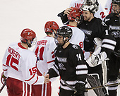 Nick Roberto (BU - 15), Chase Zieky (PC - 14), Patrick Harper (BU - 21), Ryan Cloonan (BU - 8), Brendan Leahy (PC - 1), Kasper Björkqvist (PC - 20) - The Boston University Terriers tied the visiting Providence College Friars 2-2 on Saturday, December 3, 2016, at Agganis Arena in Boston, Massachusetts.