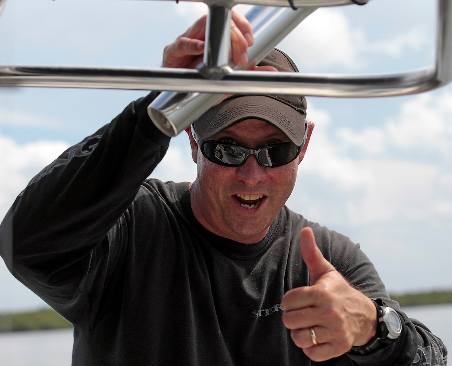 Capt. Tom Shurtleff gives a thumbs up to fishing in Florida's Everglades National Park out of Chokoloskee Island and the 10,000 Islands National Wildlife Refuge. Photo/Andrew Shurtleff
