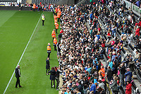 Wednesday, 23 April 2014<br /> Pictured: Players signing autographs for supporters.<br /> Re: Swansea City FC are holding an open training session for their supporters at the Liberty Stadium, south Wales,