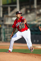 Hickory Crawdads starting pitcher Ariel Jurado (19) in action against the Greensboro Grasshoppers at L.P. Frans Stadium on May 6, 2015 in Hickory, North Carolina.  The Crawdads defeated the Grasshoppers 1-0.  (Brian Westerholt/Four Seam Images)