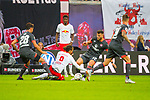07.10.2018, Red Bull Arena, Leipzig, GER, 1. FBL 2018/2019, RB Leipzig vs. 1. FC N&uuml;rnberg/Nuernberg,<br /> <br /> DFL REGULATIONS PROHIBIT ANY USE OF PHOTOGRAPHS AS IMAGE SEQUENCES AND/OR QUASI-VIDEO.<br /> <br /> im Bild<br /> <br /> Yussuf Poulsen (#9, RB Leipzig), Lukas Muehl (#28, 1. FC Nuernberg), #n12#<br /> <br /> <br /> Foto &copy; nordphoto / Dostmann