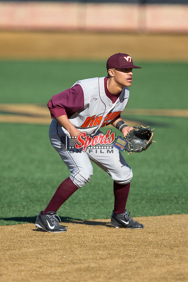 Virginia Tech Hokies shortstop Ricky Surum (2) on defense against the Wake Forest Demon Deacons at Wake Forest Baseball Park on March 7, 2015 in Winston-Salem, North Carolina.  The Hokies defeated the Demon Deacons 12-7 in game one of a double-header.   (Brian Westerholt/Sports On Film)