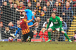 Steven Fletcher of Sunderland is tackled in the penalty area by Rory McArdle of Bradford but not penalty is given - Bradford City vs. Sunderland - FA Cup Fifth Round - Valley Parade - Bradford - 15/02/2015 Pic Philip Oldham/Sportimage