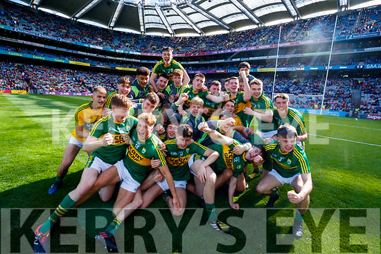 Kerry players celebrate after defeating Derry in the All-Ireland Minor Footballl Final in Croke Park on Sunday.