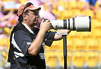 Photographer Darren Taumata at the 2017 HSBC World Sevens Series Wellington, Westpac Stadium in Wellington, New Zealand on Saturday, 28 January 2017. Photo: Kerry Marshall / lintottphoto.co.nz
