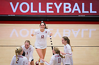 STANFORD, CA - November 15, 2017: Audriana Fitzmorris, Jenna Gray, Morgan Hentz, Kathryn Plummer, Kate Formico, Meghan McClure at Maples Pavilion. The Stanford Cardinal defeated USC 3-0 to claim the Pac-12 conference title.