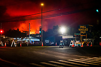 PAHOA, HI - June 2, 2018:  The National Guard and Police guard the entrance to the evacuation zone in the glow of Hawaii's Kilauea Volcano in Pahoa in Pahoa, HI on June 2, 2018. <br /> CAP/MPI/EKP<br /> &copy;EKP/MPI/Capital Pictures