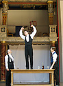 Blue Stockings by Jesscia Swale . A Shakespeare's Globe Production directed by John Dove. With  Tommy Lawrence as Lloyd, Joshua Silver as Ralph,  Matthew Tennyson as Edwards. Opens at Shakespeare's Globe Theatre  on 29/8/13  pic Geraint Lewis