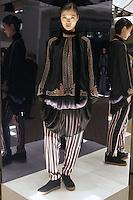 Model in Look 14: Black Peasant Top, Ombre Sunrise Slip Dress, Suiting Stripe Pants