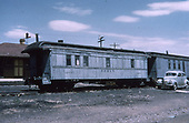 3/4 view of D&amp;RGW outfit living car #0270 at Alamosa.<br /> D&amp;RGW  Alamosa, CO
