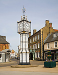 Victorian clock tower in town centre, Downham Market, Norfolk, England
