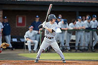 Ben Bomberger (19) of the Catawba Indians at bat against the Belmont Abbey Crusaders at Abbey Yard on February 7, 2017 in Belmont, North Carolina.  The Crusaders defeated the Indians 12-9.  (Brian Westerholt/Four Seam Images)