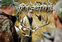 Nick Theis (cq) with Nick's Taxidermy shows off antlers in his shop in Superior, Nebraska, Thursday, December 1, 2011. ..Photo by Matt Nager