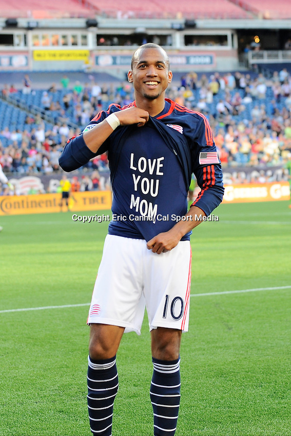 May 11, 2014 - Foxborough, Massachusetts, U.S. - New England Revolution forward Teal Bunbury (10) celebrates after the Revolution scored a goal at the MLS game between the Seattle Sounders FC and the New England Revolution held at Gillette Stadium in Foxborough Massachusetts.  New England defeated Seattle 5-0   Eric Canha/CSM