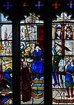 Sixteenth century stained glass windows inside church of Saint Mary, Fairford, Gloucestershire, England, UK - lower part window 5
