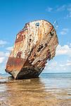 The Van Camp shipwreck in Funafuti, Tuvalu. It was blown ashore during hurricane Bebe on October 21, 1972.