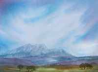 Watercolour painting of mountains and blue sky