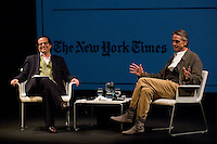 21.09.2012.The New York Times in collaboration with the Department of Arts of the City of Madrid presented, for the first time in Madrid, a series of TimesTalks at the Teatro Fernan Gomez, with prominent international personalities from film, theater and music in conversation with journalists from the New York Times. In the image (L-R) Matt Wolf (Journalist of The New York Times) and Jeremy Irons  Credit: Alterphotos/Gonzalez/NortePhoto/MediaPunch Inc. ***FOR USA ONLY***