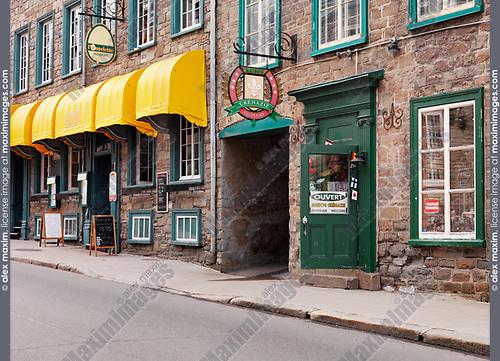 Maison Crémazie souvenirs store and l'omelette restaurant on Rue Saint Louise historic street in Old Quebec, Canada. Rue Saint-Louise, Ville de Québec.