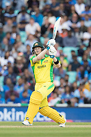 Steve Smith (Australia) goes big over wide long on off Kedar Jadhav (India) for six during India vs Australia, ICC World Cup Cricket at The Oval on 9th June 2019
