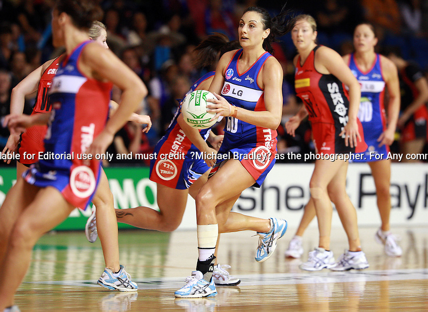 24.04.2010 Mystics Joline Henry in action during the ANZ Champs Netball match between the Mystics and Tactix at Trusts Stadium in Auckland New Zealand. Mandatory Photo Credit ©MBPHOTO/Michael Bradley.