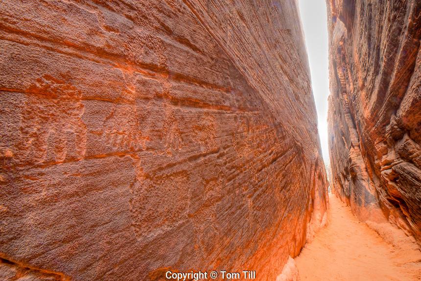 Hand petroglyphs in a slot canyon, Southern Utah