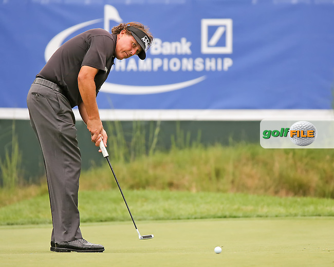 29 AUG 13 Phil Mickelson for birdie during Thursday's Pro Am at The Deutsche Bank Championship at The TPC of Boston in Norton, Massachusetts.  (photo:  kenneth e.dennis / kendennisphoto.com) www.golffile.ie