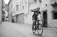 Joey Rosskopf (USA/BMC) salutes on his way to the start <br /> <br /> stage 16: Bressanone/Brixen - Andalo 132km<br /> 99th Giro d'Italia 2016