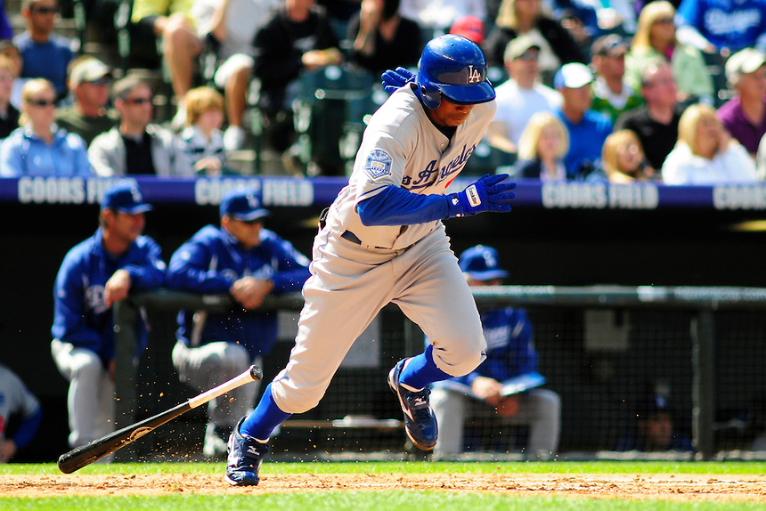 14 September 08: Los Angeles Dodgers outfielder Juan Pierre runs towards 1st base during a game against the Colorado Rockies. The Colorado Rockies defeated the Dodgers 1-0 in 10 innings at Coors Field in Denver, Colorado. FOR EDITORIAL USE ONLY