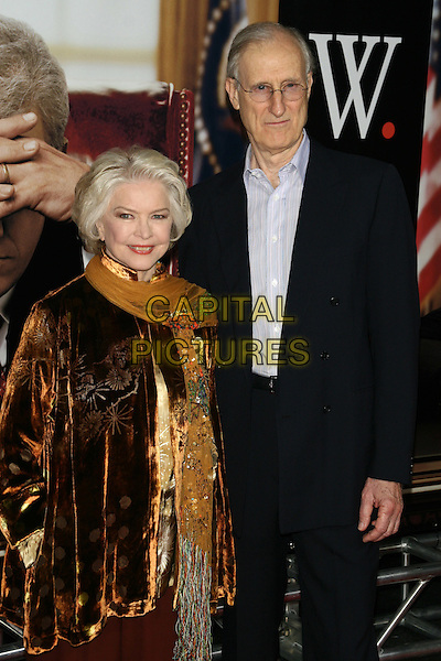 """ELLEN BURSTYN & JAMES CROMWELL.""""W."""" World Premiere at the Ziegfeld Theater, New York, NY, USA..October 14th, 2008.half length brown trousers gold yellow top velvet scarf black suit glasses .CAP/LNC/TOM.©TOM/LNC/Capital Pictures."""