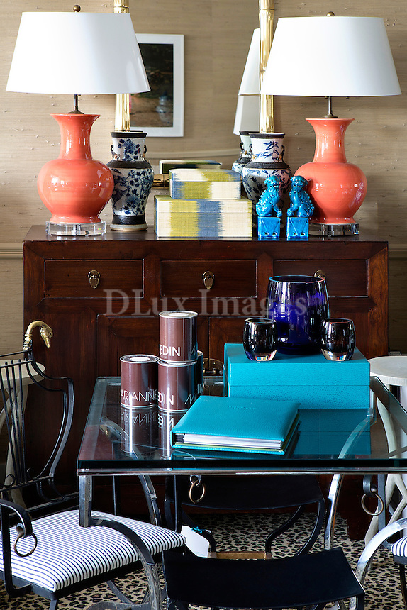 Lampshades on wooden sideboard