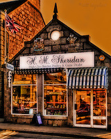 Detail of Sheridan's butchers shop at Ballater, Royal Deeside.. Sheridans holds royal warrants for Her Majesty The Queen, and His Royal Highness The Prince of Wales. Copyright, www.dsider.co.uk dSider whats on Ballater guide, photography courses & photography by Bill Bagshaw Royal Deeside.