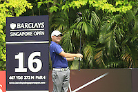 Overnight leader James Morrison (ENG) tees off on the 16th tee during Friday's  Round 2 of the 2011 Barclays Singapore Open, Singapore, 11th November 2011 (Photo Eoin Clarke/www.golffile.ie)