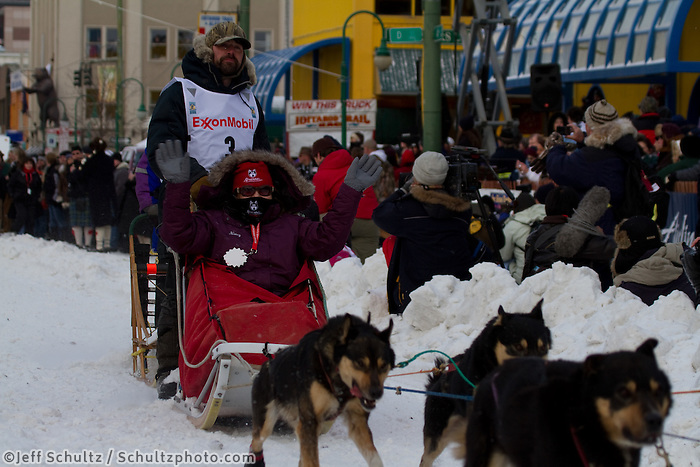 2010 Iditarod Ceremonial Start in Anchorage Alaska musher # 3 CIM SMYTH with Iditarider NANCY GRITMAN